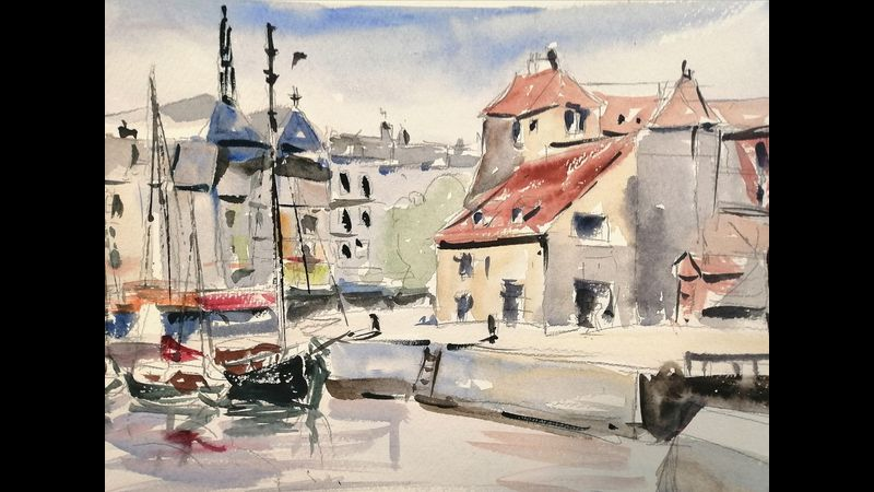 Honfleur in watercolour