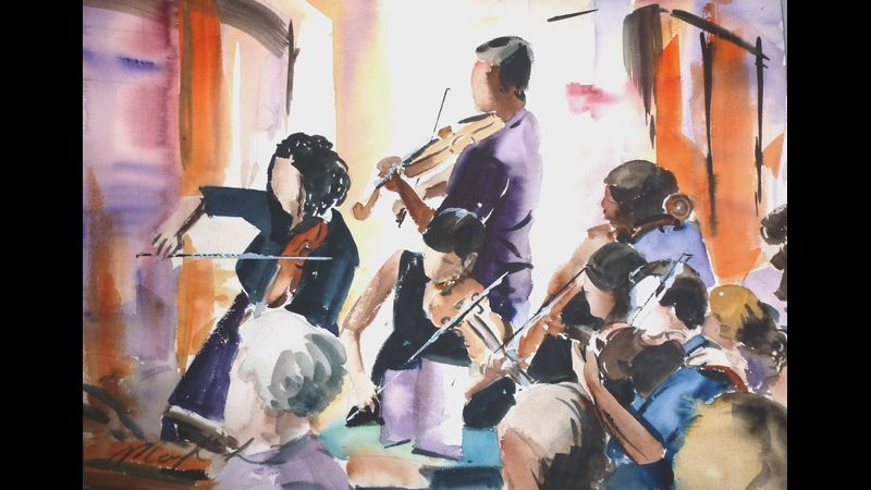 Covent garden musicians in watercolour