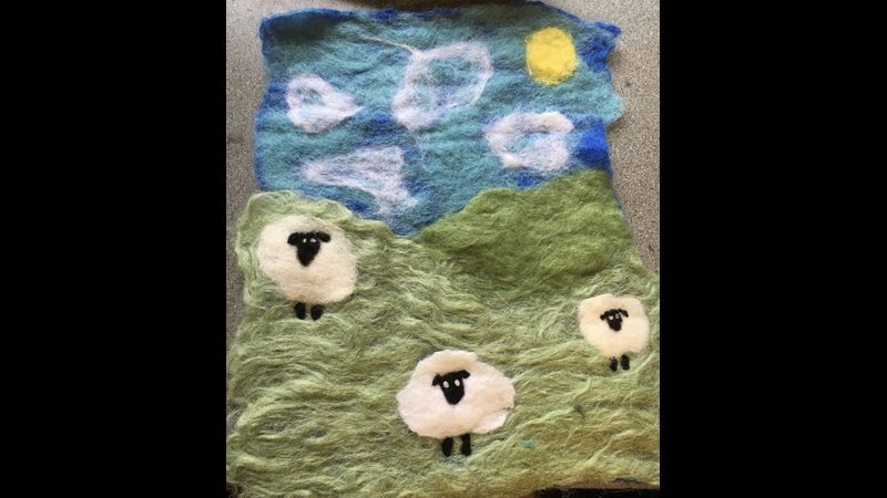 Felted picture using a combination of wet and needlefelting techniques.