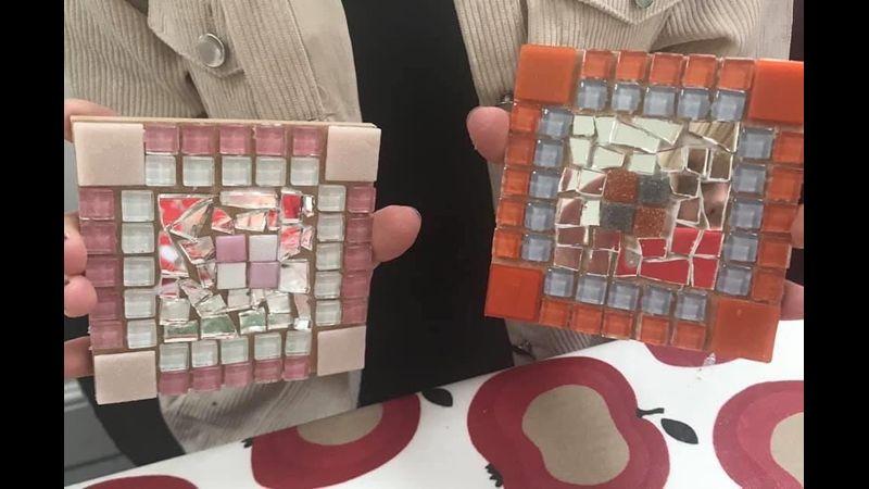 Duo of mosaic coasters