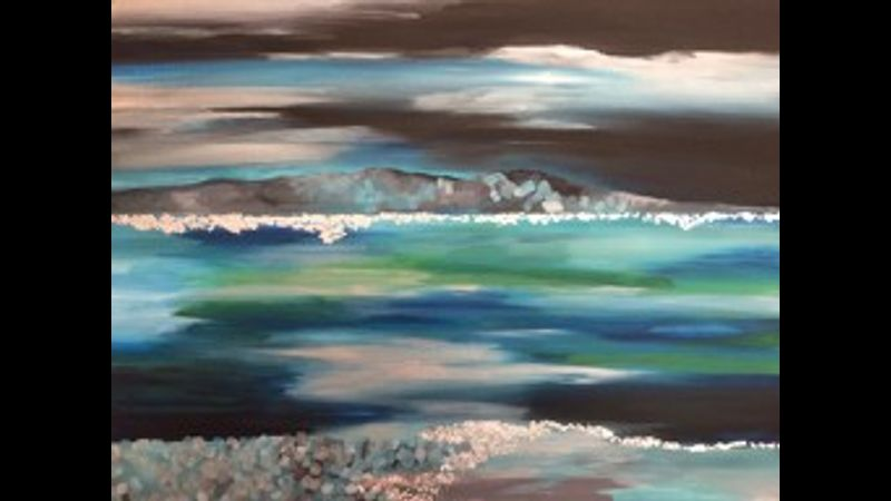 Winter seascape in acrylics and silver leaf on canvas