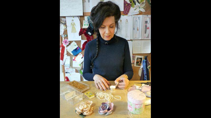 Couture designer Elizabeth Bessant demonstrating flower making