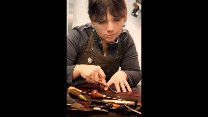 Cathy Edwards leather workshop teacher at Creative with Nature Todmorden West Yorkshire