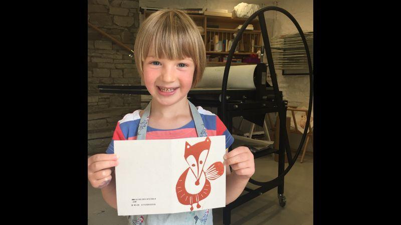 Mathilda, 5, and her mum loved their family printmaking session at Skirrid Print Studio