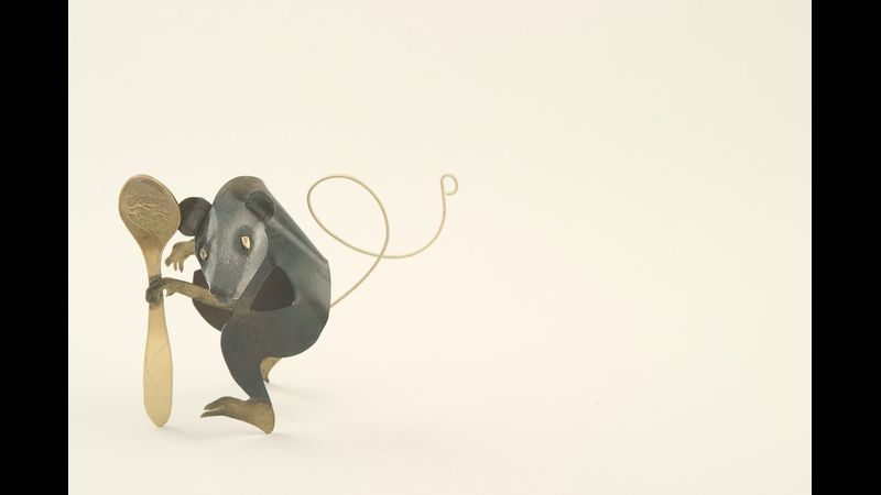 Mouse with spoon. Steel & brass sculpture