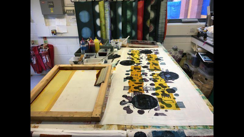 3 coloured stencil screen printing in studio