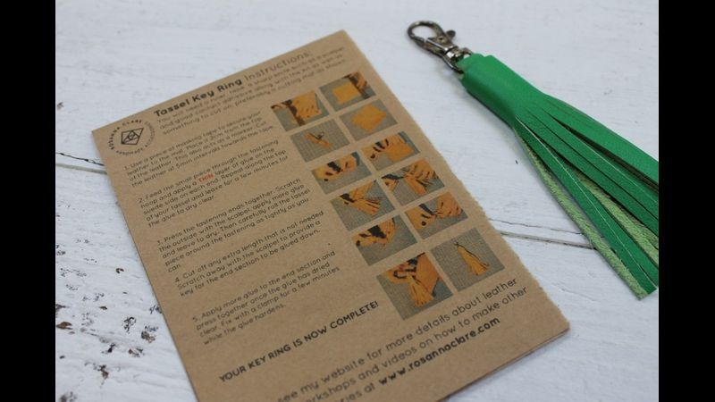 Leather tassel making kit instructions and green tassel