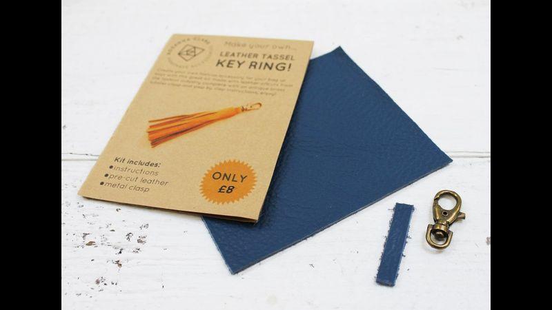 Leather tassel making kit blue leather