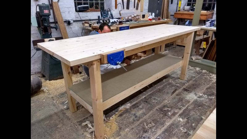 """Completed 8' x 2' 6"""" workbench, lower tool shelf and 7"""" vice"""