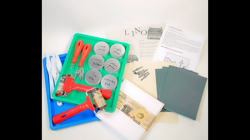 contents of 2 person lino print kit.