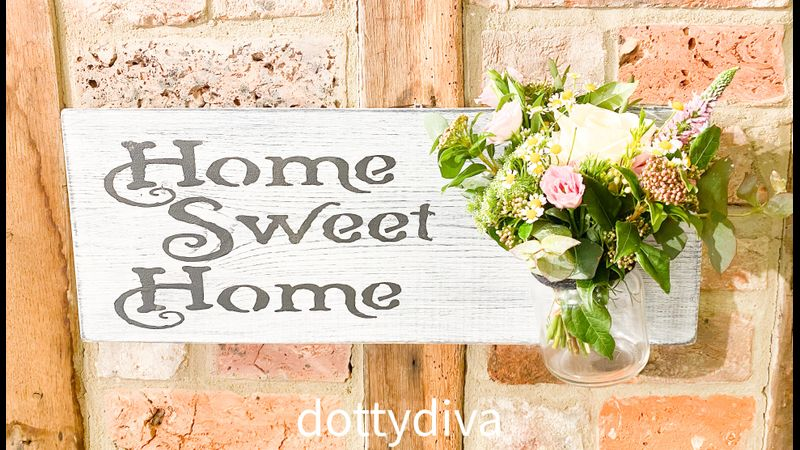 Beautiful thick pine sign painted with Annie Sloan Chalk Paint and fresh flowers.
