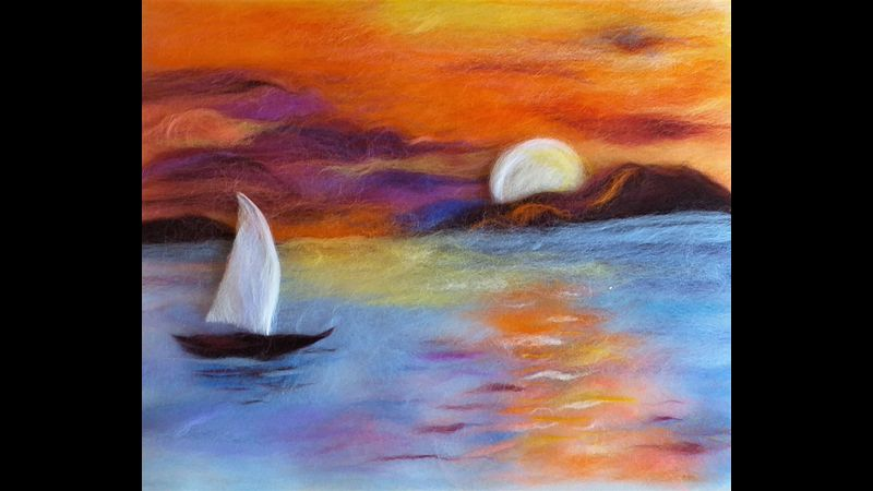 Sunset wool painting online course with live tuition