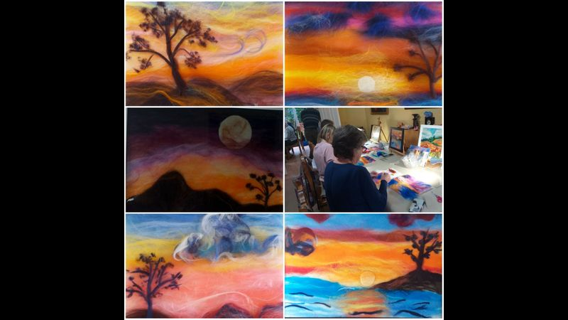 Sunset in wool painting interactive online course for complete beginners