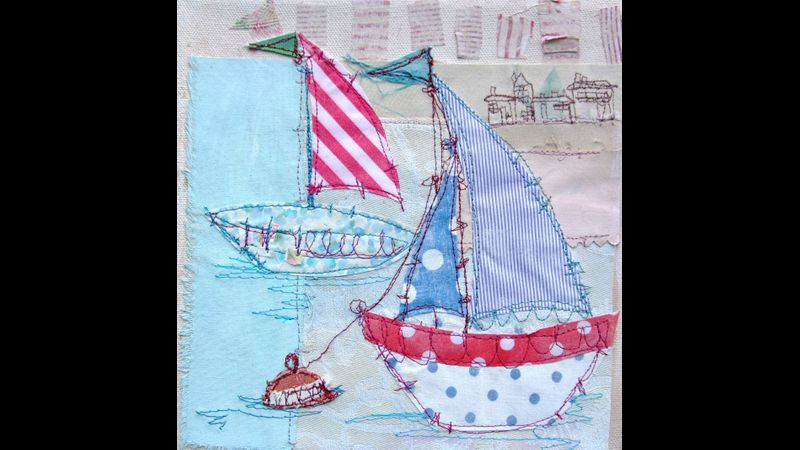 Mixed Media stitch on painted canvas with Priscilla Edwards - a Quirky Workshop in the Lake District