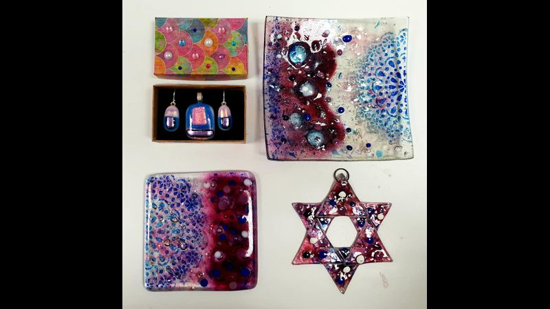 A beautiful set of glass made on the Beginners Fused Glass Workshop with Crafts in the Valley.