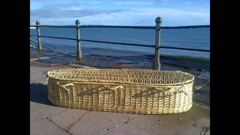 Coffin by the sea