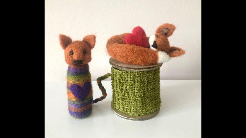 Kookie Cats Needle Felting Workshop, class, craft taught online Somerset