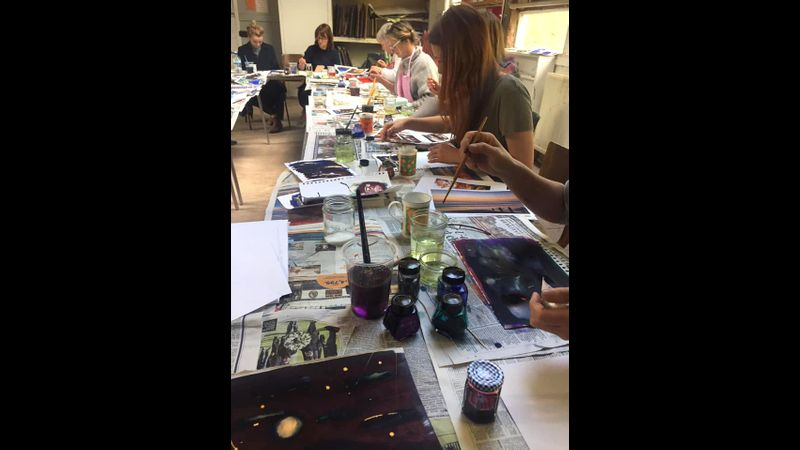 Ink & Bleach workshop in progress at the Paddock Art Studios, Lewes.