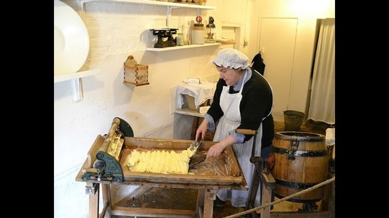 Ingrid making the Butter at Acton Scott