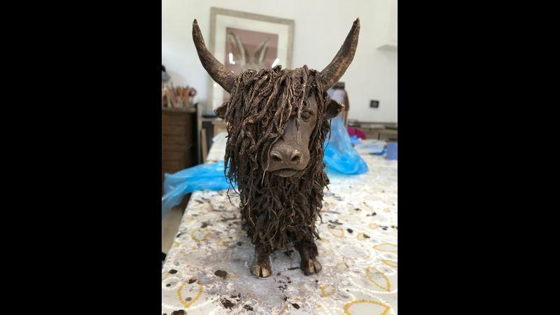 Highland Cow Sculpture - Student's Work