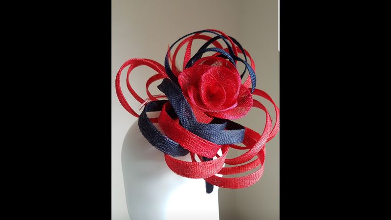 Navy and Red Looped Fascinator (Beginners Level)