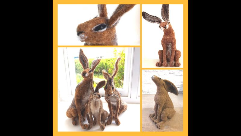 Student needle felted hares from armature (wire work) moon gazing hare (Beginner/intermediate)