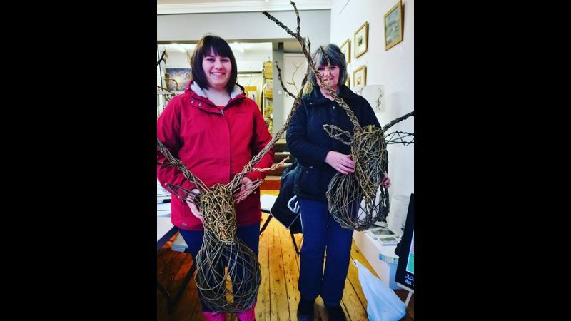 Willow Trophy Stag Heads at Creative with Nature Todmorden West Yorkshire