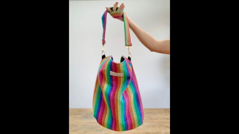 Hand woven rainbow cross body bag