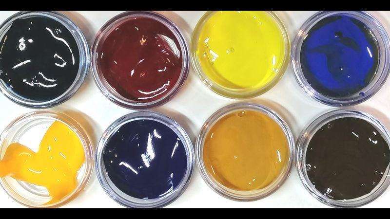 Pots of artist quality paint