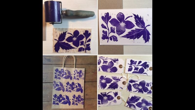 Linoprint Workshop by Kimprints at Hitchin Lavender Farm: come and learn how to make your own prints