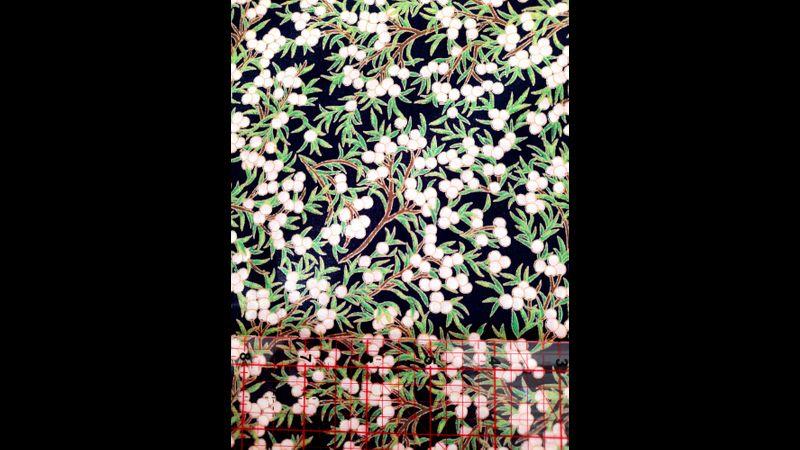 Navy and white berries fabric