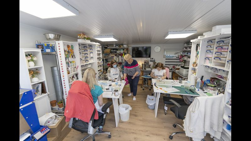 Delegates working away in our glass studio