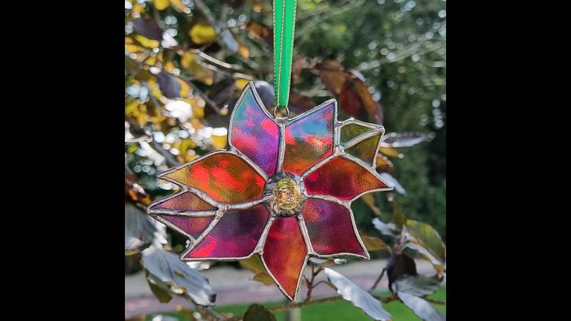 Stained Glass (copper foil method) Suncatcher Iridescent glass - Poinsettia Flower