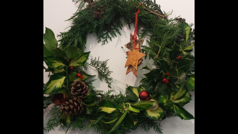 Wreath making at Acton Scott