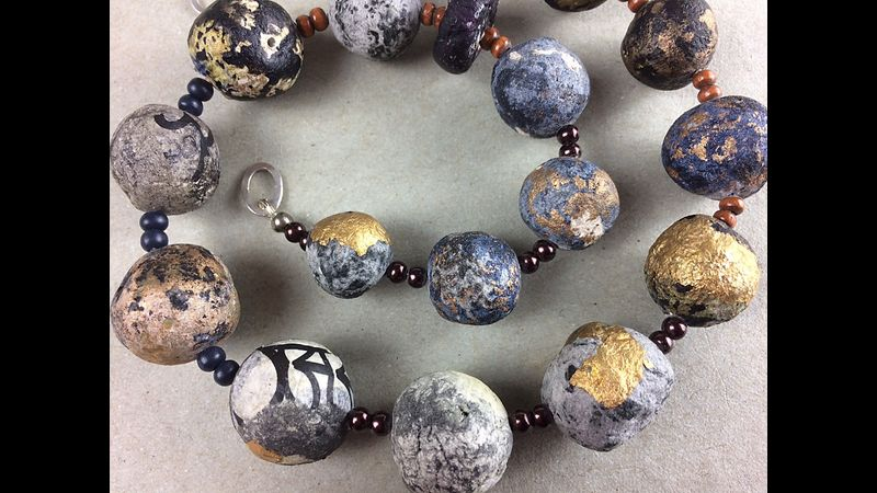 Upcycled from eggboxes, Gold, charcoal ancient lookalike beads
