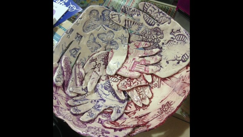 Ceramic Family Handprint Bowl in shades of purple made in Wordsley