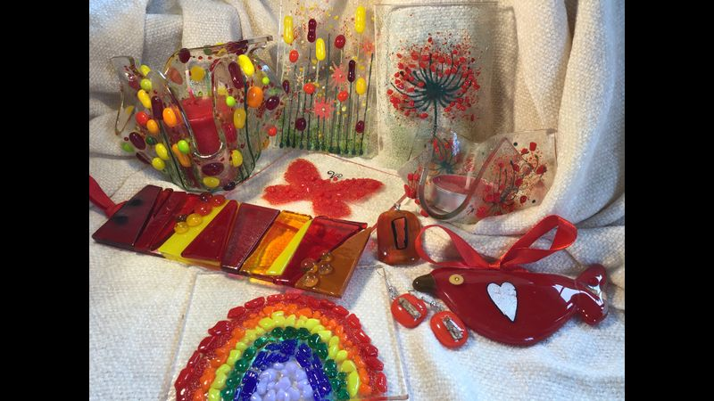 A selection of items that can be made during the workshop, including- sun catchers, jewellery, candle holders, coasters, decorations suspended on ribbons etc.