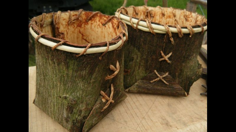 Rustic container making from elm bark and elm bark cord