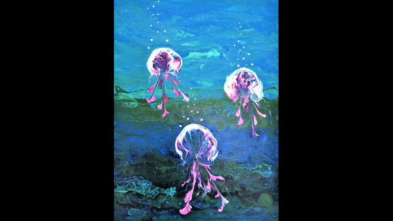 Jellyfish paint pouring workshop
