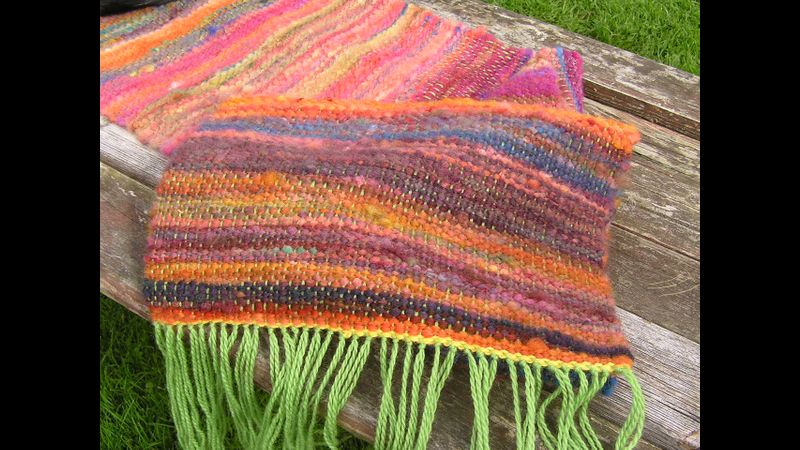 Rainbow dyed fleece woven into a thick fabric