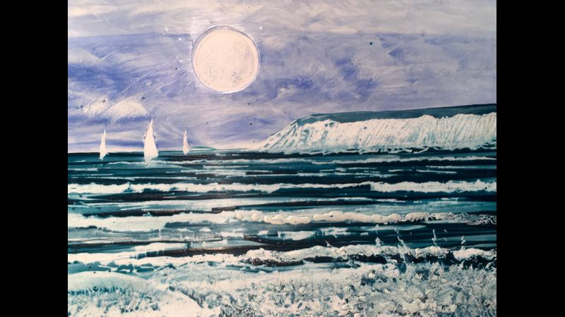 """Sea Sails seashore...""painted in encaustic wax by Phil Madley"