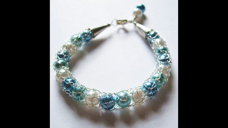 French Knit Wire Bracelet with Pearlescent Beads