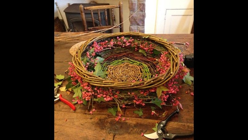 hedgerow basket with spindle made on the workshop at Usk castle 2016