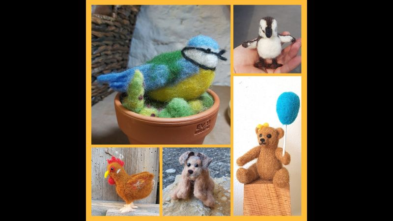 Online Craft Workshop One to One Needle Felt Animals Creatures Birds Pets Dogs Beginner/Intermediate