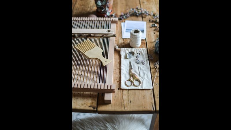 Handmade weaving loom and tools