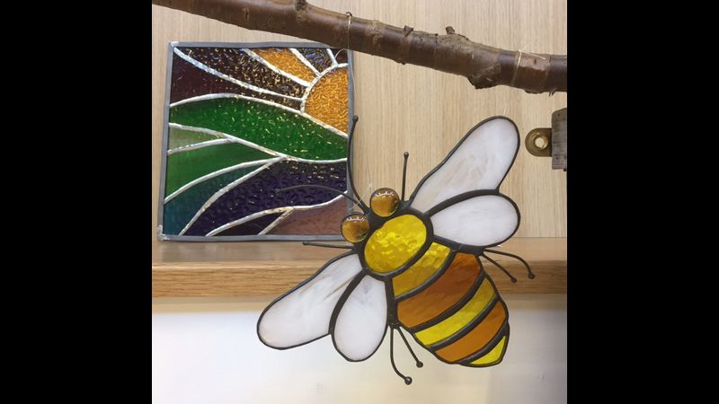 Copper foiled bee, stained Glass course in Bury