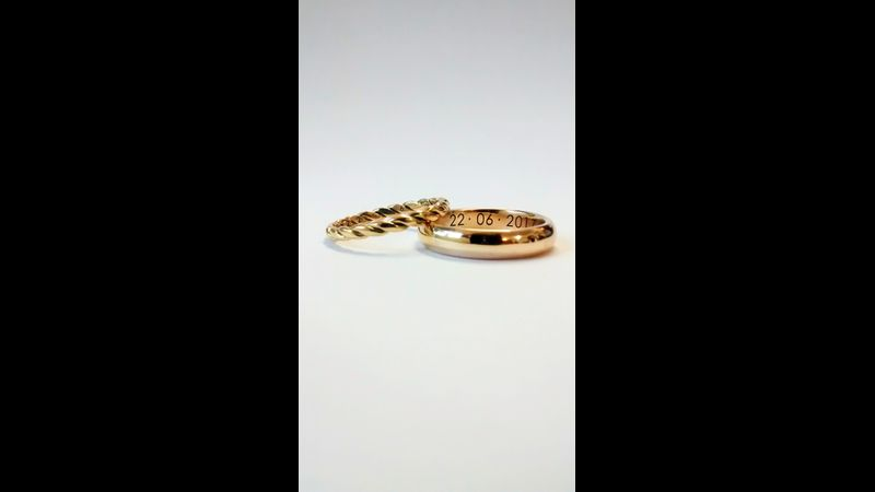Wedding rings made by students 18ct and 9ct gold Stourbridge