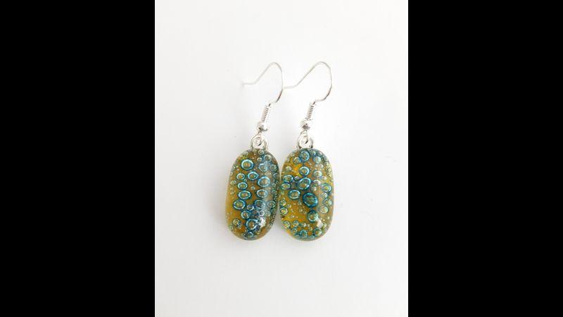 Amber yellow bubbles glass earrings