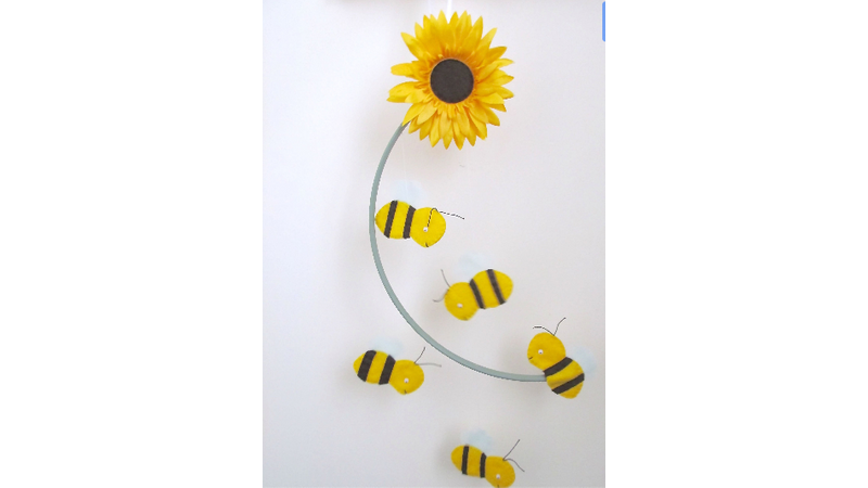 Felt bee and sunflower mobile