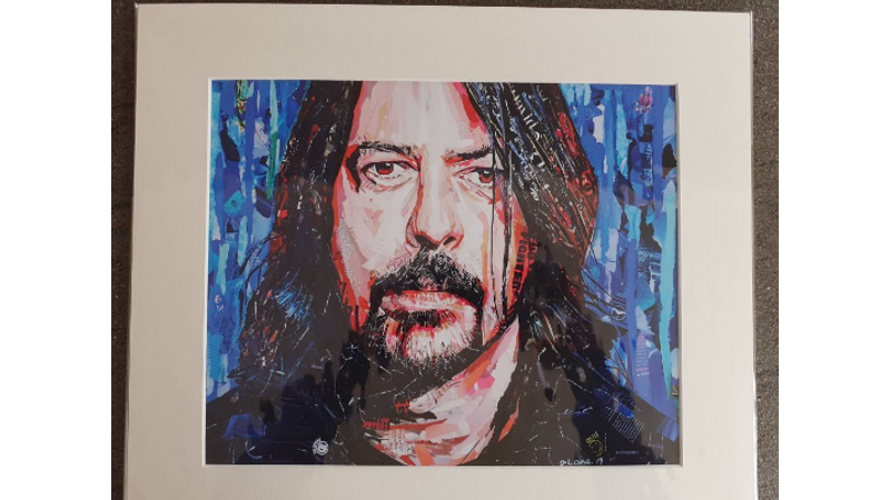 Giclee mounted print of my ORIGINAL ripped paper artwork of Dave Grohl Foo Fighters